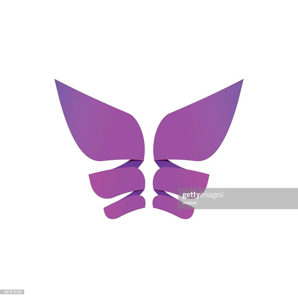 Butterfly colorful logo, abstract wings shape in purple violet colors
