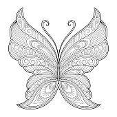 Butterfly decorative element. Pattern for the design of postcards, posters, tattoos, drawings of henna. Page for the coloring book.