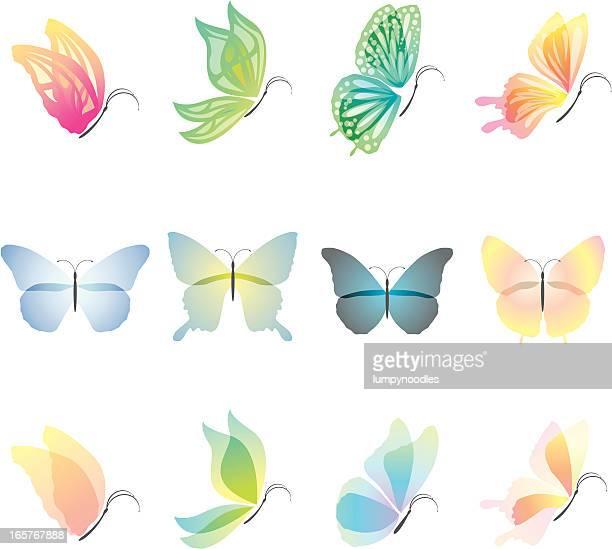 ilustrações, clipart, desenhos animados e ícones de elementos de design de borboletas - lepidóptero