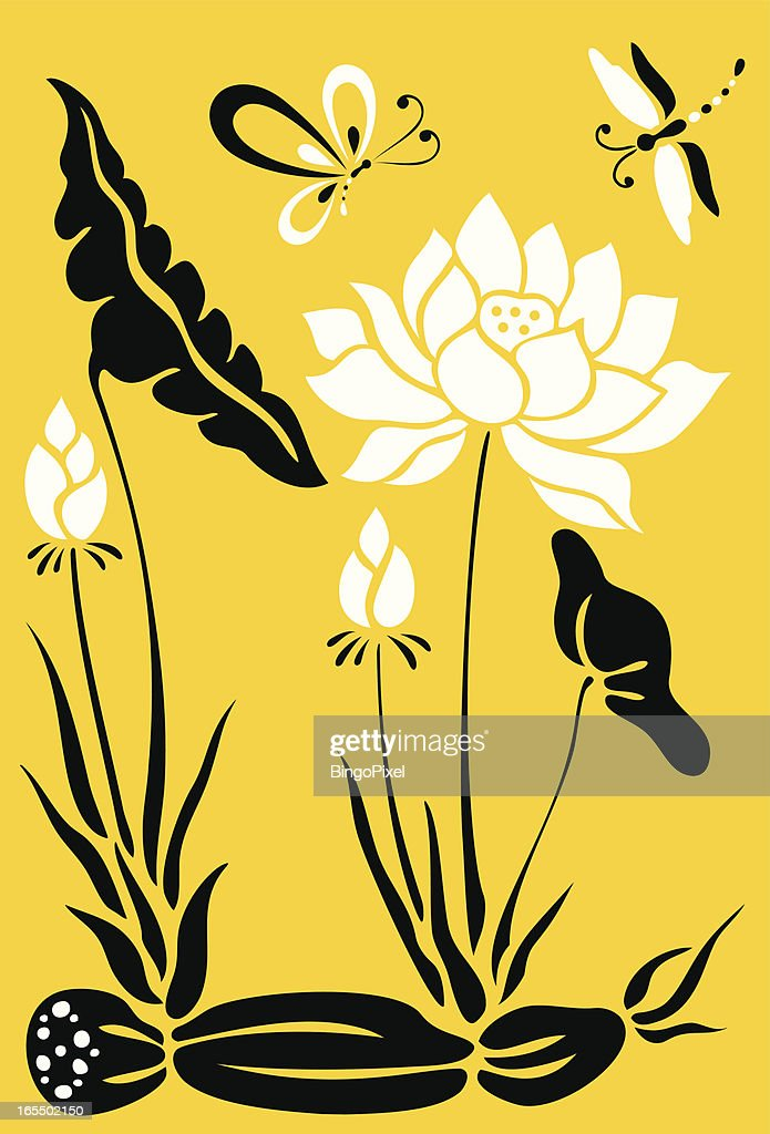 Butterfly, Dragonfly & Lotus Flowers