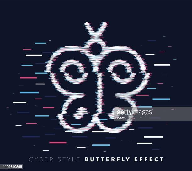 butterfly effect glitch effect vector icon illustration - naughty america stock illustrations, clip art, cartoons, & icons