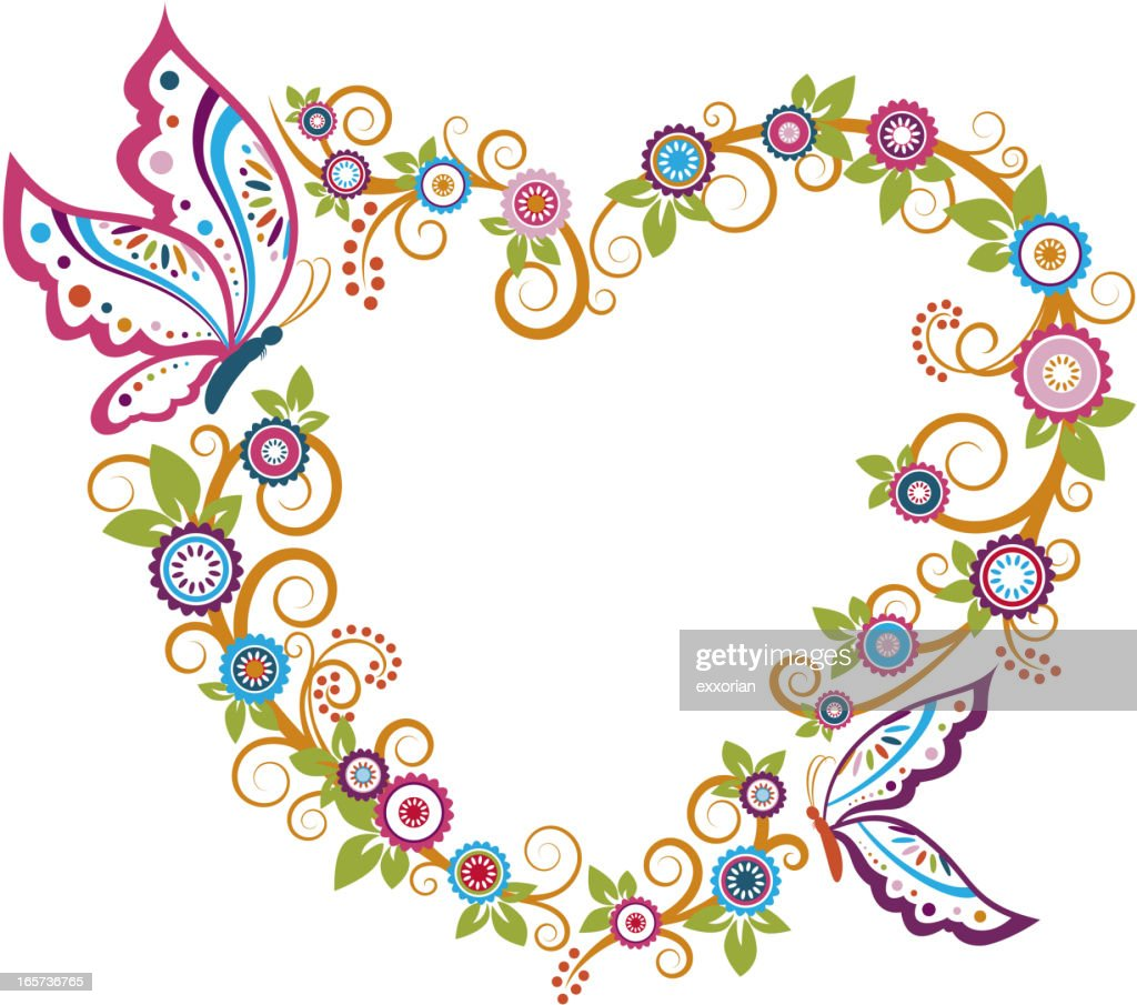 Butterfly Floral Heart Shaped Frame Vector Art | Getty Images