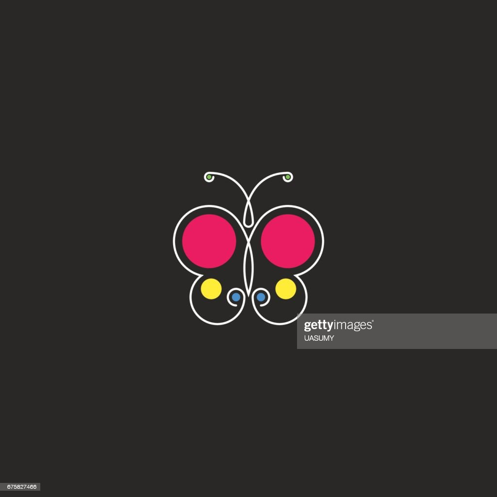 Butterfly icon hipster minimal style monogram silhouette abstract beautiful insect with colored circle geometric shape