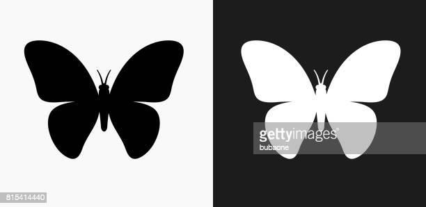 ilustrações, clipart, desenhos animados e ícones de ícone de borboleta em preto e branco vector backgrounds - lepidóptero