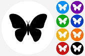 Butterfly Icon on Flat Color Circle Buttons