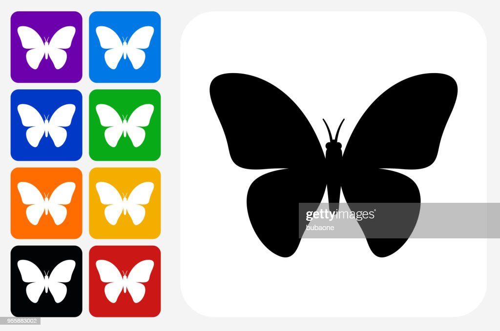 Butterfly Icon Square Button Set