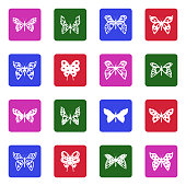 Butterfly Icons. White Flat Design In Square. Vector Illustration.