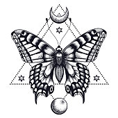 Butterfly in triangle, half moon and moon. Tattoo Design. Mystical symbol of soul, immortality, rebirth and resurrection