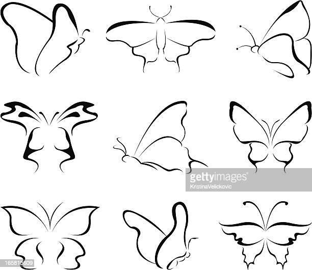 ilustrações, clipart, desenhos animados e ícones de borboleta-arte em linha - borboleta