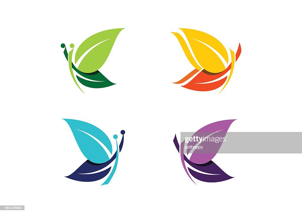 Butterfly logo, beautiful abstract butterflies symbol icon design vector