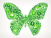 Butterfly Nature and Environmental Conservation Icon Pattern