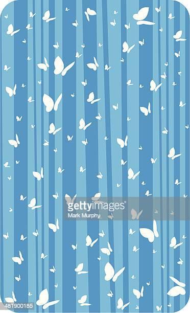 butterfly on blue stripe - animal limb stock illustrations, clip art, cartoons, & icons