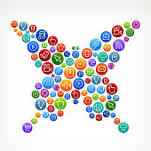 Butterfly on Social Networking & Internet Color Buttons