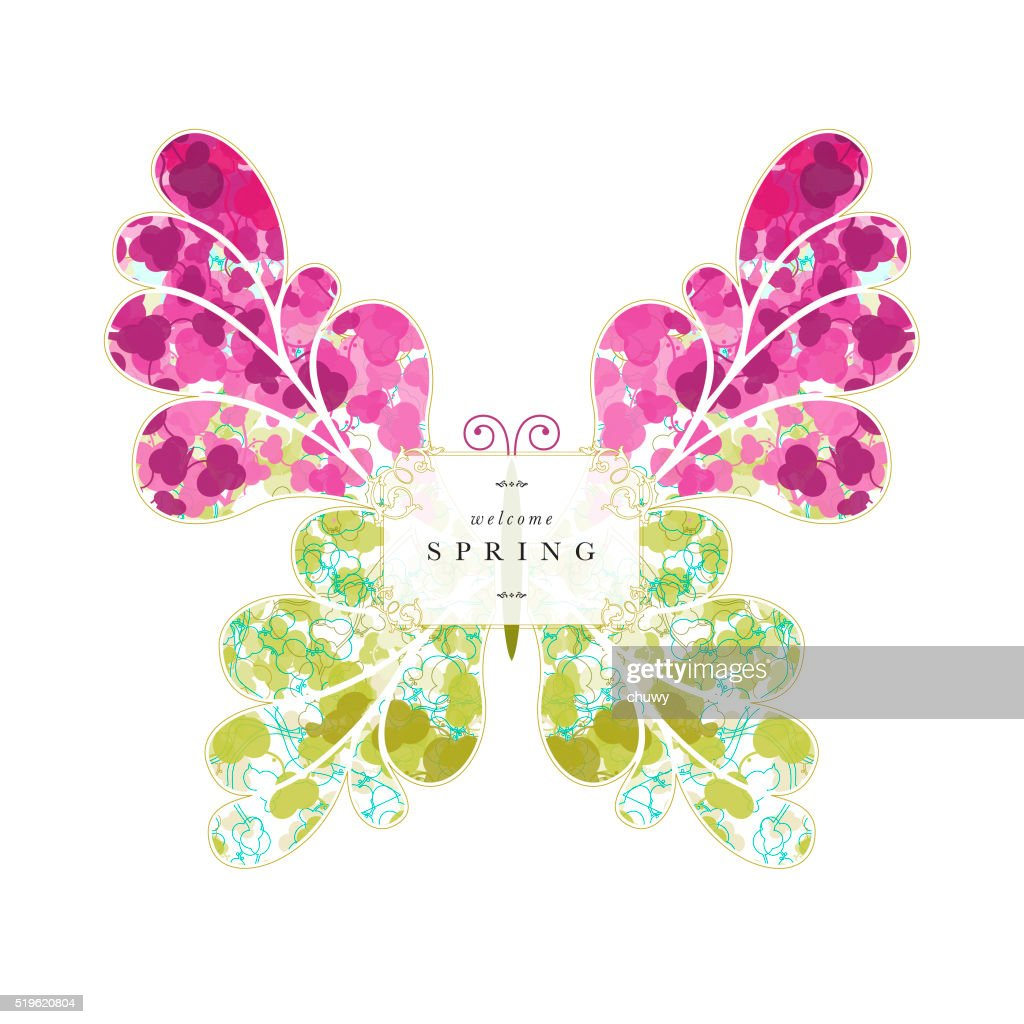 Butterfly springtime spring banner text floral pattern : Vector Art