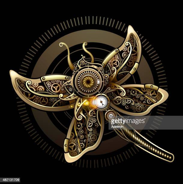 butterfly steampunk concept - steampunk stock illustrations