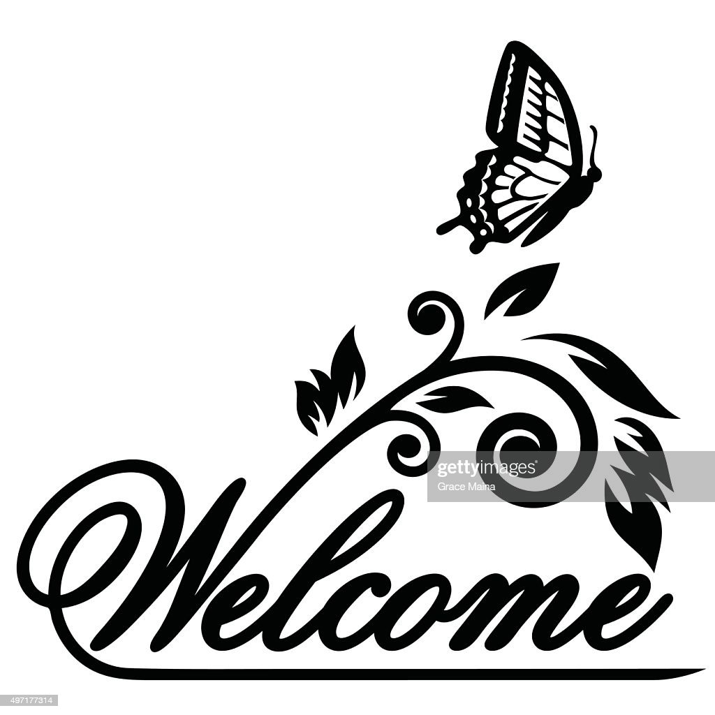 Butterfly welcome Illustration - VECTOR