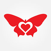 butterfly with love vector illustration