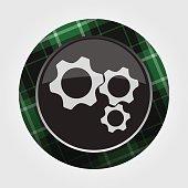 button green, black tartan - three cogwheel icon