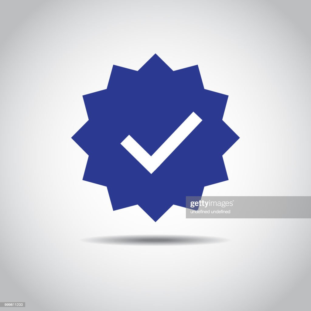 OK Button Icon. Blue icon of accept sign. Shadow and isolated on white