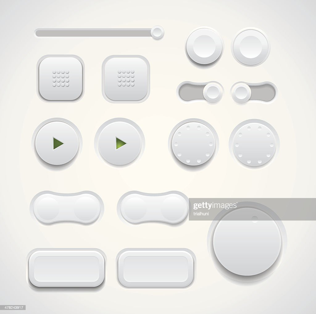 UI button set including switches and push buttons