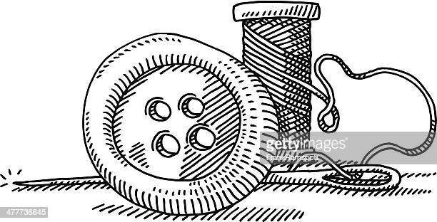 button sewing kit drawing - button sewing item stock illustrations