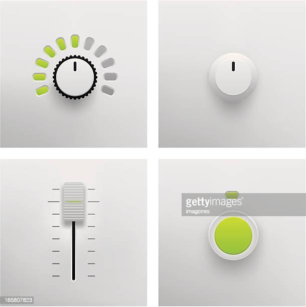 button, slider and fader vector - volume knob stock illustrations, clip art, cartoons, & icons
