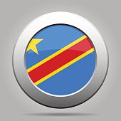 button with flag, Democratic Republic of the Congo