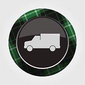 button with green, black tartan - van car icon