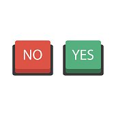 Buttons no or yes. Vector illustration. The concept of choice