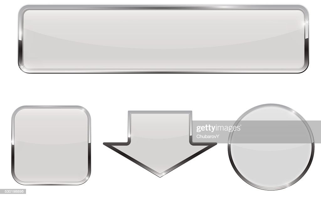 Buttons. White web icons with chrome frame