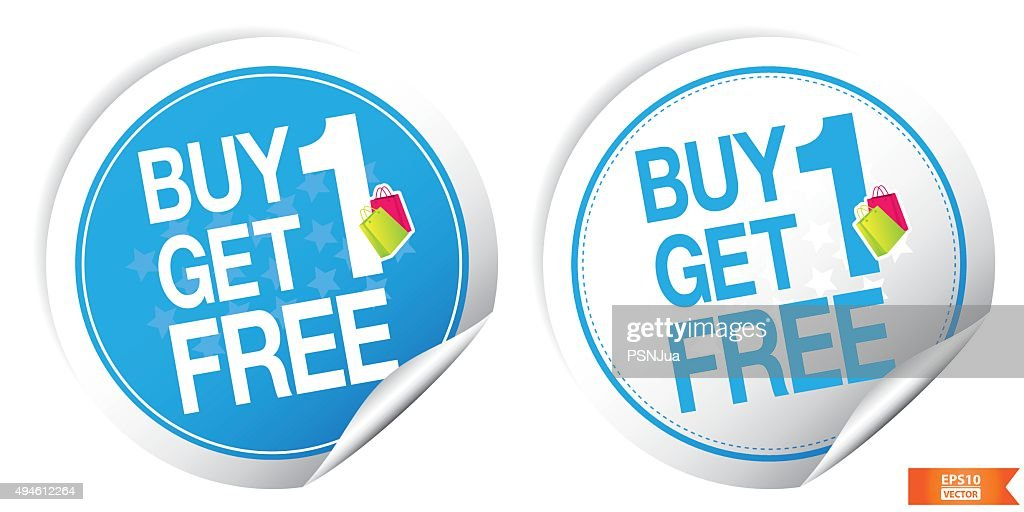 Buy 1 Get 1 Free Blue Sticker For Marketing Campaign.