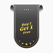 Buy 1 Get 1 Free golden Vector Icon