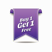 Buy 1 Get 1 Free Violet Vector Icon
