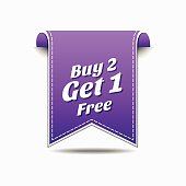 Buy 2 get 1 free Violet Vector Icon