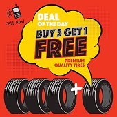 Buy 3 get 1 Free tires poster