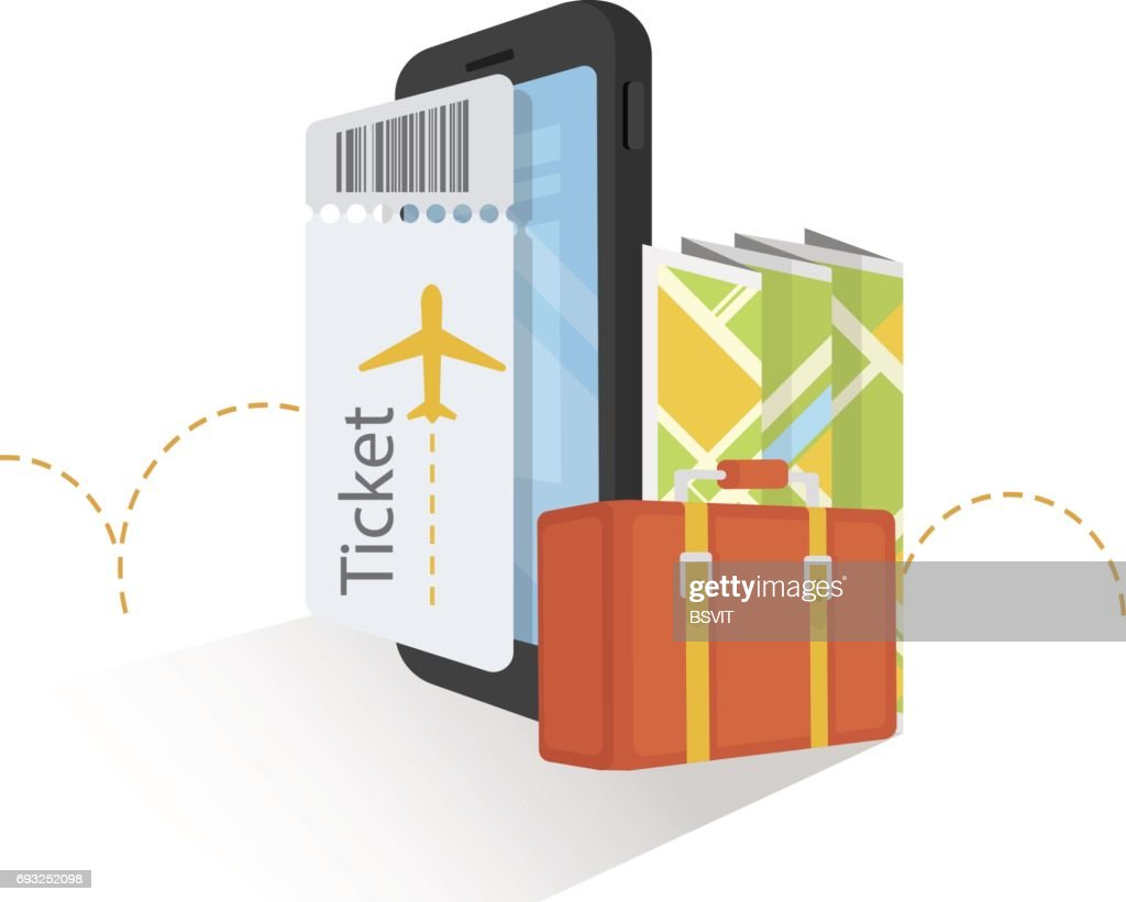 Buy Air Ticket Online. Online Ordering.Internet e-commerce, travel and technology. Vector illustration