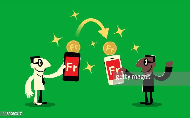 buy and sell and money transfer service, two businessmen with smart phone (mobile phone) and franc sign coins - franc sign stock illustrations, clip art, cartoons, & icons