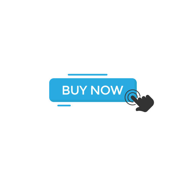 buy now button and hand click cursor icon vector design on white background. - buy now stock illustrations