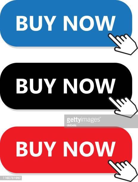 illustrazioni stock, clip art, cartoni animati e icone di tendenza di acquista ora la raccolta di pulsanti con puntatore a mano - urgenza