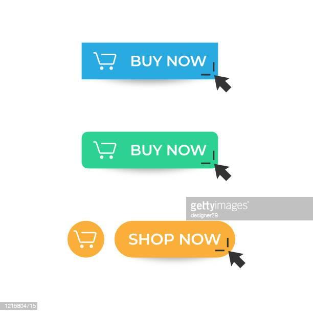 kaufen sie jetzt button icon. shop now button click mouse cursor und shopping ticket vector design auf weißem hintergrund. - computermaus stock-grafiken, -clipart, -cartoons und -symbole