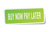 buy now pay later square sticker on white