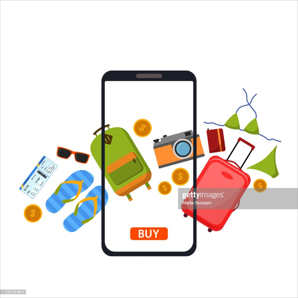 Buy Online concept. Traveling on airplane, planning a summer vacation, tourism and journey objects, Concept online shopping