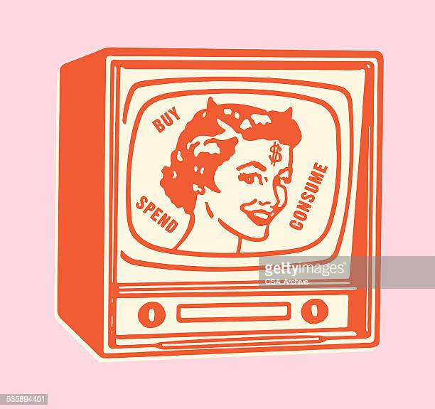 buy spend consume devilish message on tv - actress stock illustrations