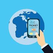 Buy Ticket Online Smart Phone Application Globe World Map Travel