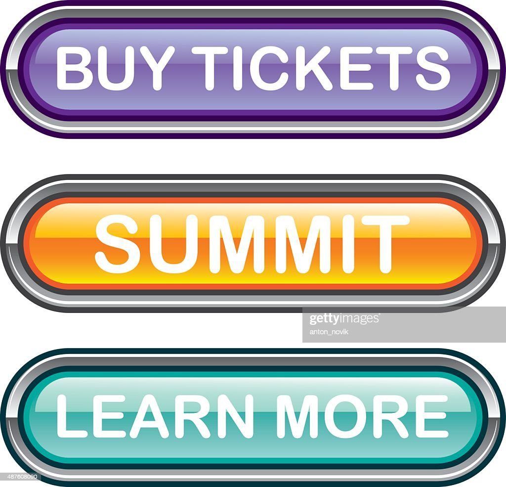 Buy tickets summit learn more buttons glossy Vectors