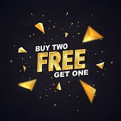 Buy two get one free on dark background vector illustration. Isolated design elements. Best offer shopping template with golden triangles