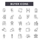 Buyer line icons for web and mobile design. Editable stroke signs. Buyer  outline concept illustrations