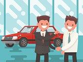 Buying a car. Handing of car keys. Vector illustration