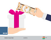 Buying a gift for 200 Indian Rupee. Flat style vector illustration. Shopping concept.
