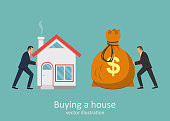 Buying a house vector design illustration